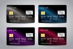 Realistische ausführliche Kreditkarten Lizenzfreie Stockbilder