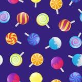 Realistische ausführliche Süßigkeits-nahtloser Muster-Hintergrund der Lutscher-3d Vektor Lizenzfreie Stockfotografie