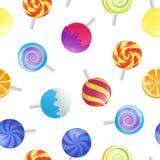 Realistische ausführliche Süßigkeits-nahtloser Muster-Hintergrund der Lutscher-3d Vektor Lizenzfreie Stockbilder