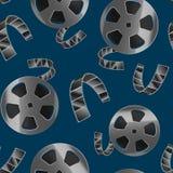 Realistische ausführliche Spule 3d Film-Band-des nahtlosen Muster-Hintergrundes Vektor stock abbildung