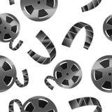 Realistische ausführliche Spule 3d Film-Band-des nahtlosen Muster-Hintergrundes Vektor vektor abbildung