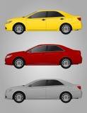 Realistische auto sedan reeks op grijze achtergrond royalty-vrije illustratie