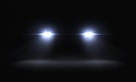 Realistische Autoscheinwerfer Vordere Lichtstrahlen des Zugs, transparente helle glühende helle Strahlen, Nachtstraßen-Lichteffek lizenzfreie abbildung
