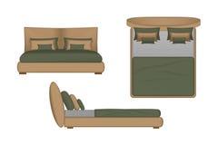 Realistische Bett-Illustration Spitze, Front, Seitenansicht für Ihre Innenarchitektur Szenen-Schöpfer Stockfotos