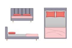 Realistische Bett-Illustration Spitze, Front, Seitenansicht für Ihre Innenarchitektur Szenen-Schöpfer Lizenzfreie Stockfotografie