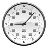 Realistische 12 bis 24 Stunden-Militärstempeluhr-Umwandlung lokalisierte Vektor-Illustration lizenzfreie abbildung