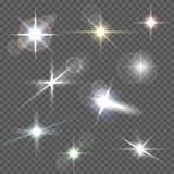 Realistische Blendenflecksternlichter und weiße Elemente des Glühens auf transparentem Hintergrund vector Illustration Stockfotografie