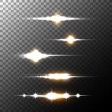Realistische Blendenfleckstrahlen und -blitze auf transparentem Hintergrund Stockfotografie