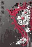 Realistische Blumen gegen grunge Hintergrund Lizenzfreie Stockfotos