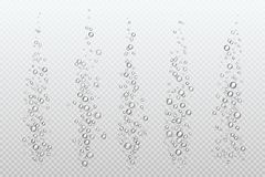 Realistische bruisende bellen De onderwatercarbonaatfonkelingen onder water bruisen gas geïsoleerde aquariumlucht Bellenstroom vector illustratie