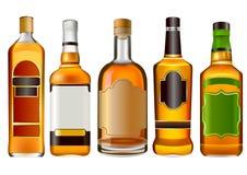 Realistische bunte Alkoholflaschen stockbild