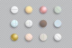 Realistische bunte medizinische Pillen, Tabletten, Kapseln stock abbildung