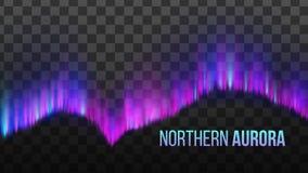 Realistische bunte Nord-Aurora Light Vector lizenzfreie abbildung