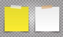 Realistische Bureaudocument bladspeld met transparante band Witte en gele postnotavector voor uw ontwerp stock illustratie