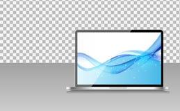 Realistische Computerlaptop met Abstract Behang op het Scherm op Transperent-Achtergrond Vector illustratie Stock Fotografie