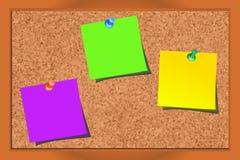 Realistische corkboard met punaisen en leeg document Royalty-vrije Stock Afbeelding