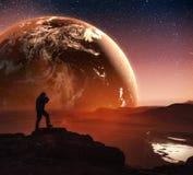 Realistische 3D Aarde Lyustration Hoffelijkheid van NASA Mens in ruimte Stock Foto's
