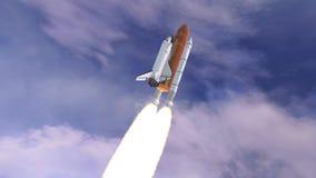 Realistische 3D Animatie van Ruimteveer Lancering over aardeatmosfeer Elementen van deze video die door NASA wordt geleverd vector illustratie