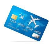 Realistische 3d Gedetailleerde Creditcard met Vliegtuig Vector Stock Foto's
