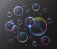 Realistische 3d Gedetailleerde Zeepbel op een Transparante Achtergrond Vector Stock Afbeelding