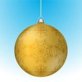 Realistische 3D gele Kerstmisbal met witte bezinningen Royalty-vrije Stock Fotografie