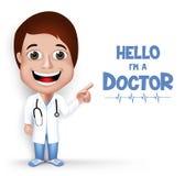 Realistische 3D Jonge Vriendschappelijke Vrouwelijke Professionele Arts Medical Character Royalty-vrije Stock Foto
