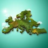 Realistische 3D Kaart van Europa Stock Foto