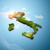 Realistische 3D Kaart van Italië Stock Afbeeldingen