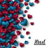 Realistische 3D Kleurrijke Rode en blauwe Romantische Valentine Hearts Valentines-liefde Vector illustratieachtergrond royalty-vrije illustratie