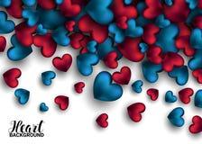 Realistische 3D Kleurrijke Rode en blauwe Romantische Valentine Hearts Valentines-liefde Vector illustratieachtergrond stock illustratie