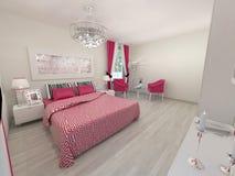 Realistische 3D slaapkamer Royalty-vrije Stock Foto