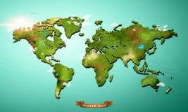 Realistische 3D Wereldkaart stock afbeelding