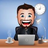 Realistische 3D Zakenman Character Working op Bureaulijst met Laptop Vector illustratie Stock Fotografie