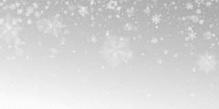 Realistische dalende sneeuw met witte sneeuwvlokken, lichteffect royalty-vrije illustratie