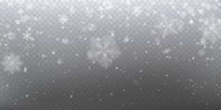 Realistische dalende sneeuw met witte sneeuwvlokken, lichteffect stock illustratie