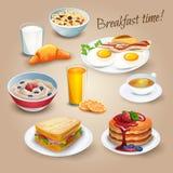 Realistische de pictogrammenaffiche van de ontbijttijd Stock Afbeeldingen