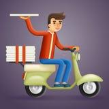 Realistische Design-Vektor-Illustration der Pizza-Lieferungs-Kurier-Motorcycle Scooter Box-Konzept-Karikatur-3d Lizenzfreies Stockfoto