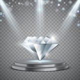 Realistische diamant op podium met verlichting vector illustratie