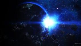 Realistische die Aarde door Asteroïden wordt aangevallen stock illustratie