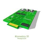 Realistische die 3d microchip op wit wordt geïsoleerd Stock Foto's