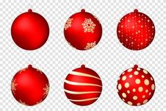 Realistische die Kerstmisballen op transparante achtergrond worden geïsoleerd Glanzende rode Kerstmisballen met gouden patronen royalty-vrije illustratie