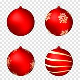 Realistische die Kerstmisballen op transparante achtergrond worden geïsoleerd Glanzende rode Kerstmisballen met gouden patronen stock illustratie