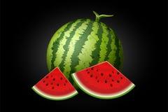 Realistische die watermeloen met plakken op zwarte worden geïsoleerd Royalty-vrije Stock Foto