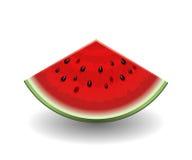 Realistische die watermeloenplak op wit wordt geïsoleerd Stock Afbeeldingen