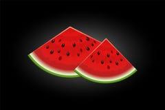 Realistische die watermeloenplakken op zwarte worden geïsoleerd Royalty-vrije Stock Foto's