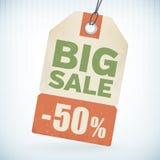 Realistische document grote verkoop 50 percenten van prijskaartje Stock Afbeelding