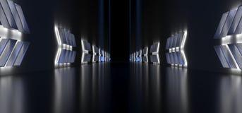 Realistische Donkere Gang met Lichte Pijlvormen Royalty-vrije Stock Afbeelding