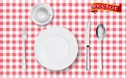 Realistische Draufsicht des Gedecks mit gesetzter Umhüllung des modernen Tischbestecks für eine Vektorillustration der Person 3d stock abbildung