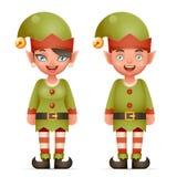 realistische Elfen-Jungen-und Mädchen-Charakter-Weihnachts-Santa Teen Icons New Year-Feiertags-Vektor-Illustration der Karikatur- Lizenzfreies Stockfoto