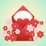 Realistische Envelop met hart, kant en bloemen Royalty-vrije Stock Foto's